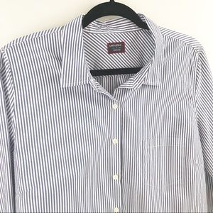 UNTUCKit Blue Striped Button Front Blouse Size 14